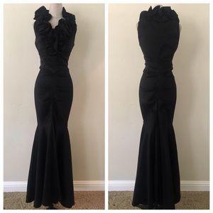 New!  Xscape black maxi dress ruffle gown
